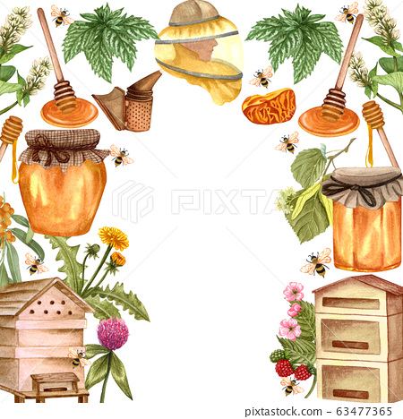 Watercolor honey colorful frame with honeycombs, plants, dipping, bees and honey pot, beehive. Hand drawn honey background. 63477365