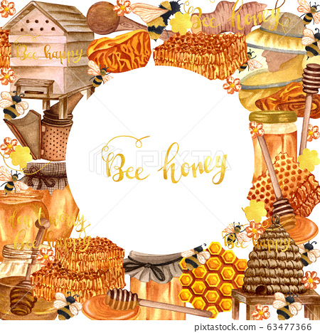 Watercolor honey colorful frame with honeycombs, plants, dipping, bees and honey pot, beehive. Hand drawn honey background. 63477366