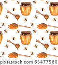 Watercolor honey seamless pattern with bee and honey. Hand drawn repeten background. 63477560