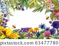 Watercolor wild flowers and herbs frame. Place for text, Hand drawn border for your design. Blooming meadow flowers thistles, dandelions, raspberry, wisteria, sunflower clover, buck thorn, lavender 63477780