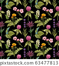 Watercolor wildflowers seamless pattern with the different meadow flowers. Clover, blue thistle, raspberry, dandelion pattern. Vibrant summer floral pattern. Perfect for the textile and wallpapers. 63477813