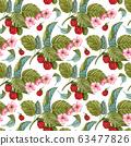 Watercolor raspberry seamless pattern on white. Raspberry berries and flowers pattern. Seamless pattern with hand drawn raspberry bush. 63477826