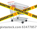Shopping cart with caution barrier tapes 63477857