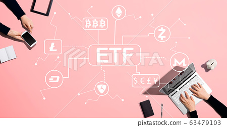 Cryptocurrency ETF theme with people working together 63479103