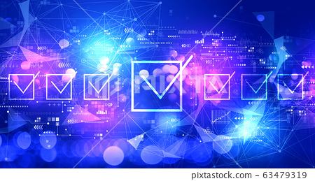 Checklist concept with technology light background 63479319