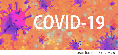 COVID-19 theme with viral objects 63479320