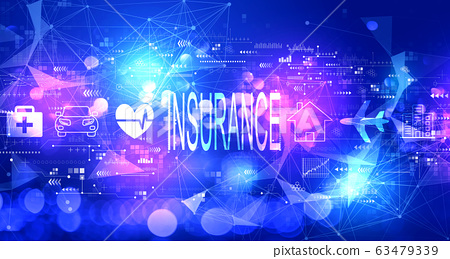 Insurance concept with technology light background 63479339