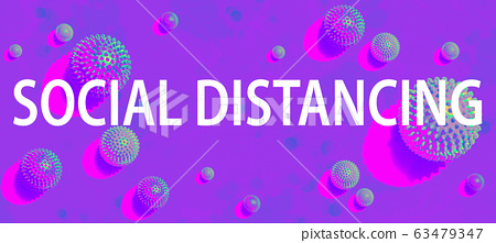 Social Distancing theme with viral objects 63479347