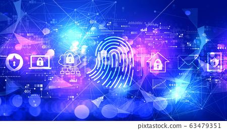 Fingerprint scanning theme with technology light background 63479351