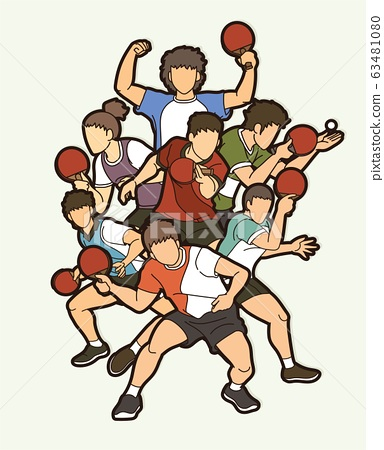 Ping Pong, Table Tennis players action cartoon sport graphic vector. 63481080