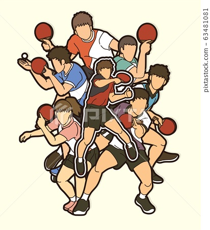 Ping Pong, Table Tennis players action cartoon sport graphic vector. 63481081