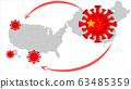 Coronavirus 2019-nCoV, COVID-19 in USA. Virus spread concept. 63485359
