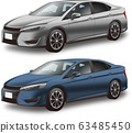 Car illustration sports sedan silver blue original design 63485450