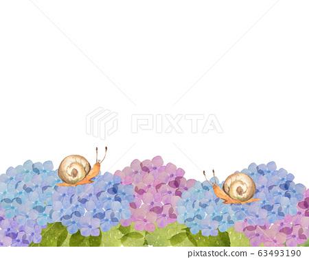 繡球花和蝸牛 63493190