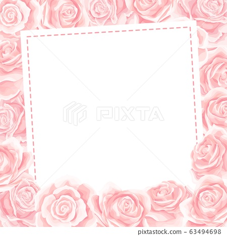 Elegant pink roses floral bouquet as frame. Vector summer border design 63494698