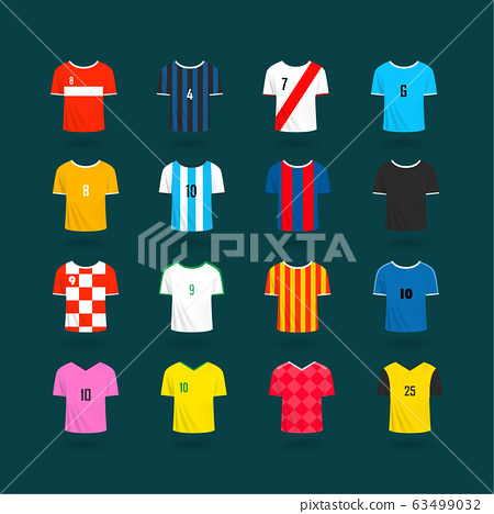 Soccer team t-shirts color samples. Vector clipart 63499032