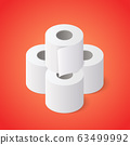 Stack of Toilet paper rolls on red background. Isometric vector illustration 63499992
