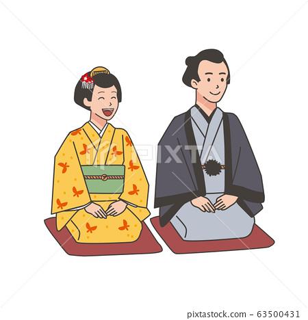Edo Town People Men and Women Illustration 63500431