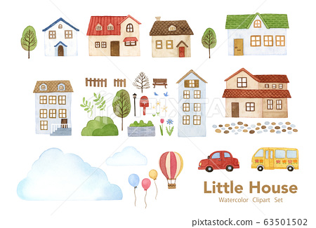 手繪水彩畫|小房子剪貼畫水彩插圖集 63501502
