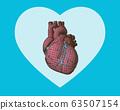Pink wireframe human heart on green BG 63507154