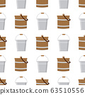 Seamless pattern with wooden and tin buckets empty 63510556