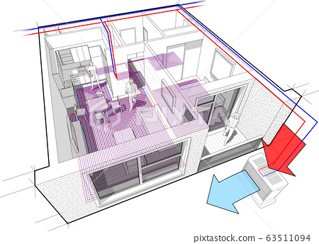 Perspective cutaway diagram of a one bedroom apartment completely furnished with hot water floor heating and air source heat pump with central heating system as source of heating energy 63511094