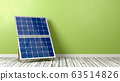 Solar Panel on Wooden Floor Against Wall 63514826