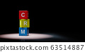 CRM Cubes Spotlighted on Black Background 63514887
