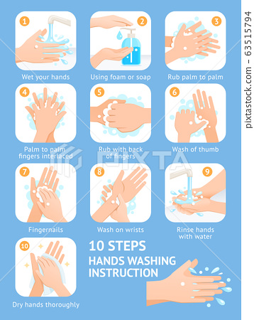 Hand washing steps instruction vector 63515794