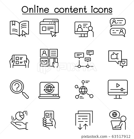 online content icon set in thin line style 63517912