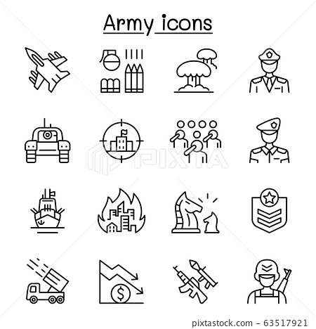 War & army icons set in thin line style 63517921