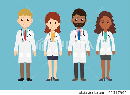 Group of men and women doctors characters team  63517993