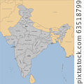Vector template India country map divided on state 63518799