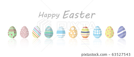 Set of Easter colorful painted eggs on white background. 63527543