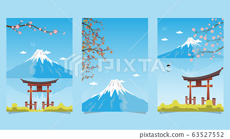 Japan postcard set, Japan gates and Fujiyama mountain with sakura flower, Travel postcard, tour advertising of Japan. 63527552