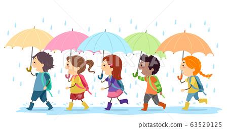 Stickman Kids Umbrella Rain Walk Illustration 63529125