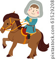 Kid Boy Squire Ride Horse Illustration 63529208