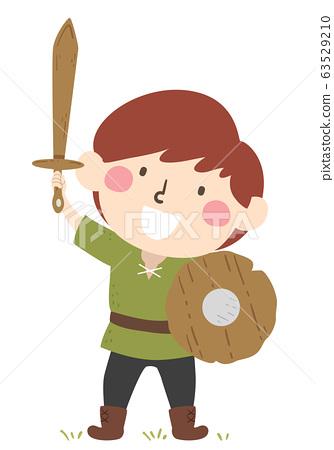 Kid Boy Page Apprentice Wooden Sword Shield 63529210
