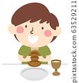 Kid Boy Page Apprentice Bread Meal Illustration 63529211