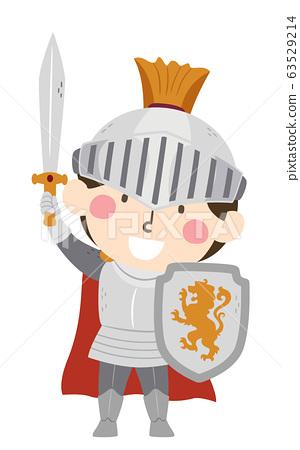Kid Boy Medieval Knight Illustration 63529214