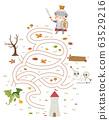 Kid Boy Knight To Tower Maze Illustration 63529216