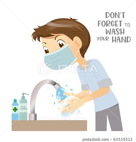 Man wears medical surgical mask washing hand 63529312