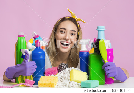 Hygiene at home concept. Housewife struggling with dirt 63530116