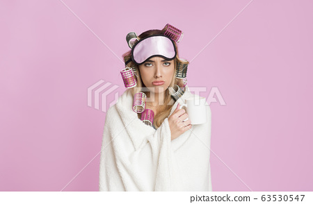 Not good morning. Sleepy girl in blanket and mask for sleeping 63530547