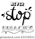Never stop dreaming is word of hand lettering 63530931