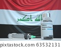 New coronavirus vaccine with flag of Iraq as a background. Iraqi medical research and vaccination, 3D rendering 63532131