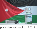 New coronavirus vaccine with flag of Jordan as a background. Jordanian Medical research and vaccination, 3D rendering 63532139