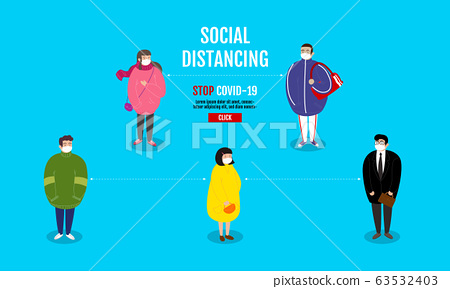 Social Distancing concept , People keeping 63532403