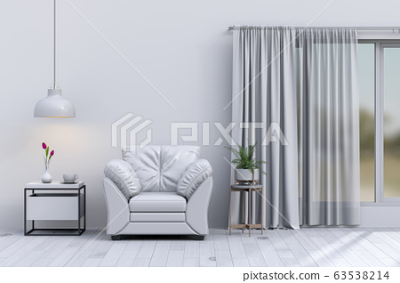 interior modern living room with sofa,  plant, lamp, decoration, 3D render 63538214