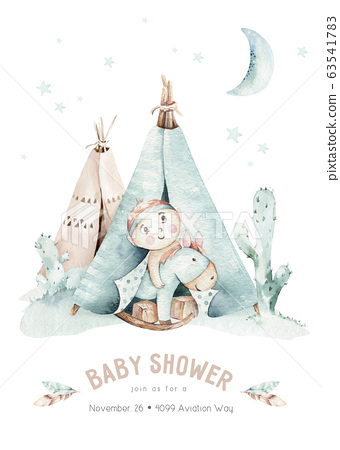 Watercolor set with mexican ethnic elements: cactus ,teepee tent, traditional wigwam, feather, arrow. Boho party invitation. Baby boy baby shower. Wild west 63541783